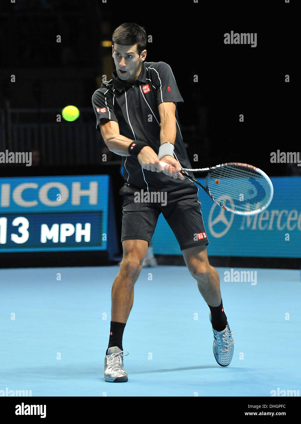 Serbia's Novak Djokovic on his way to victory on day 6 of the Barclays ATP World Finals. - Stock Image
