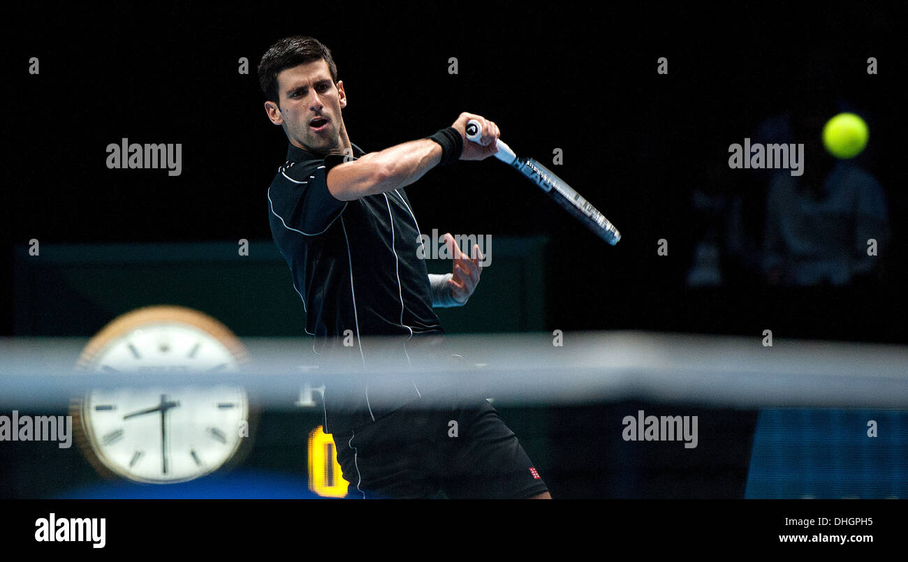 Serbia's Novak Djokovic in action on day 4 of the Barclays ATP World Finals - Stock Image