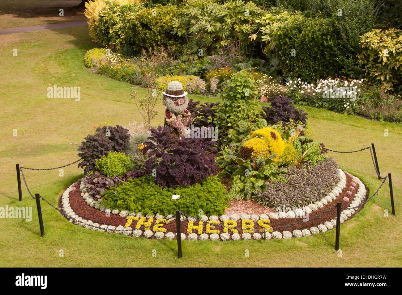 Herb Garden in city park in Bath, Somerset, England, Great Britain - Stock Image