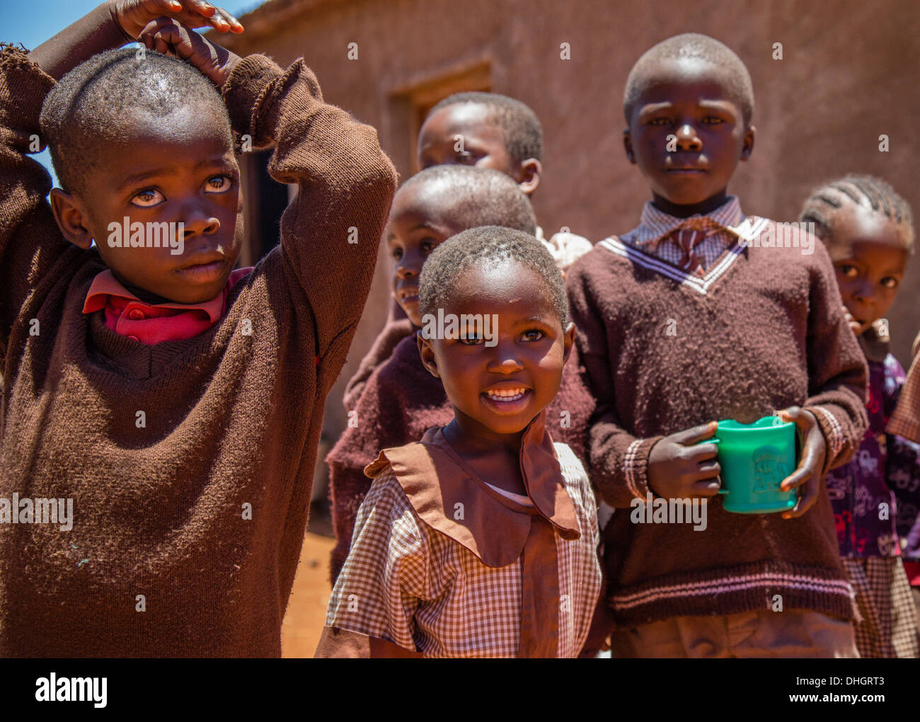 Primary school children in the  playground of a school in Sagalla Southern Kenya - Stock Image
