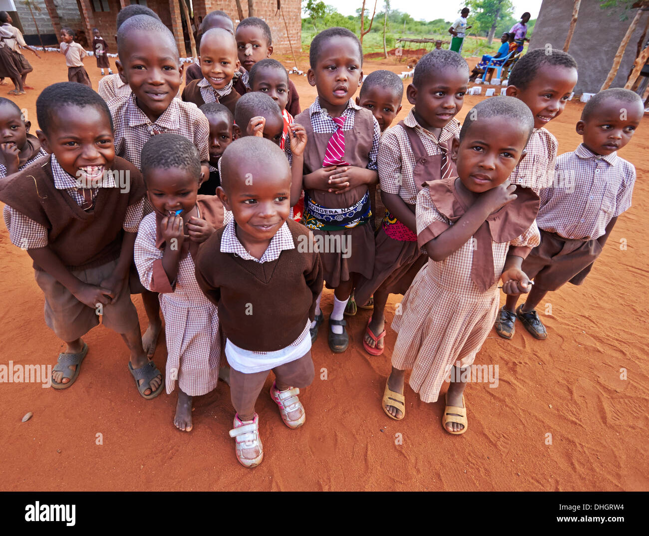 School kids line up for photographs in a Kenyan primary school near ...