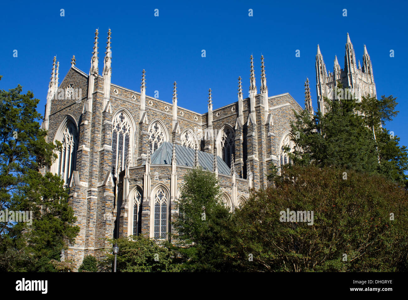 Duke University Chapel is located on the campus of Duke University in Durham, North Carolina and seats 1800 people. - Stock Image