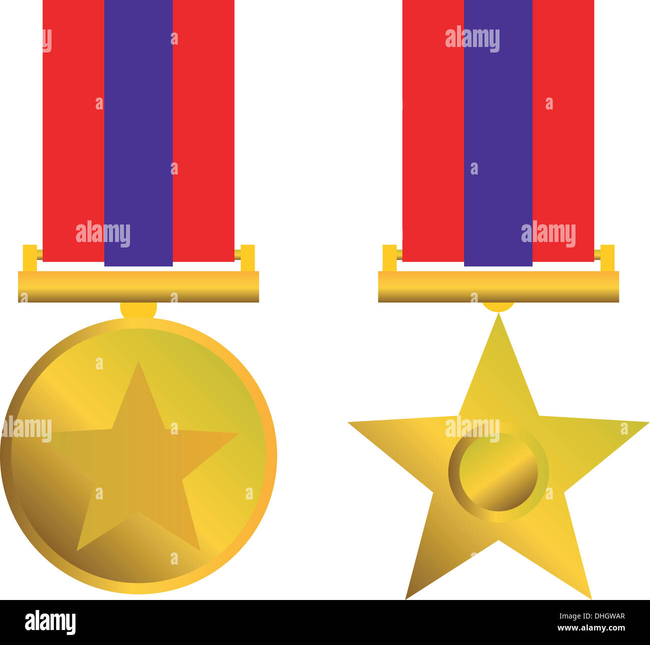 Illustration of a military medal of honor for bravery in combat on isolated white background. Stock Photo