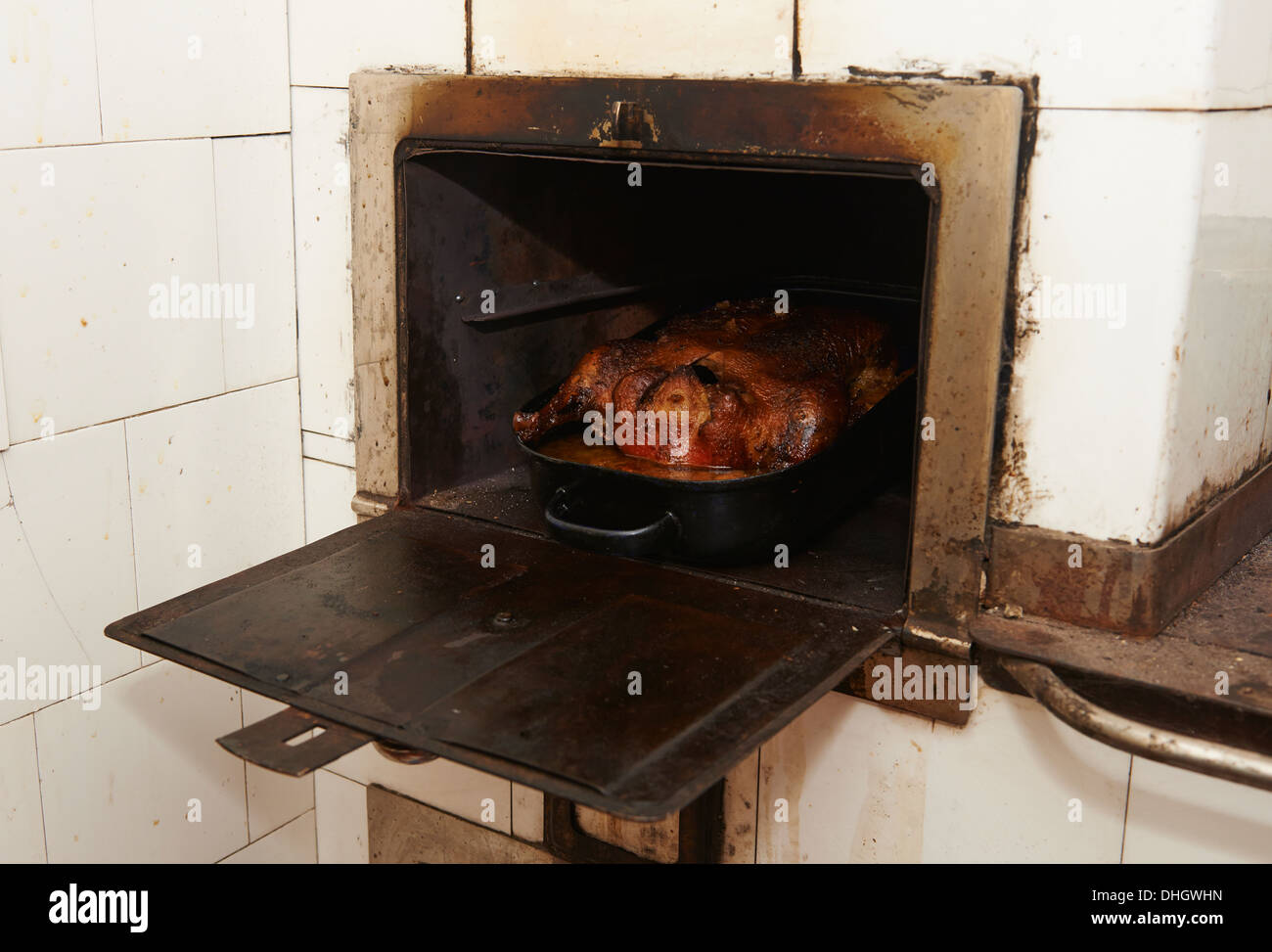 Stuffed duck in frying pan in old stove - Stock Image