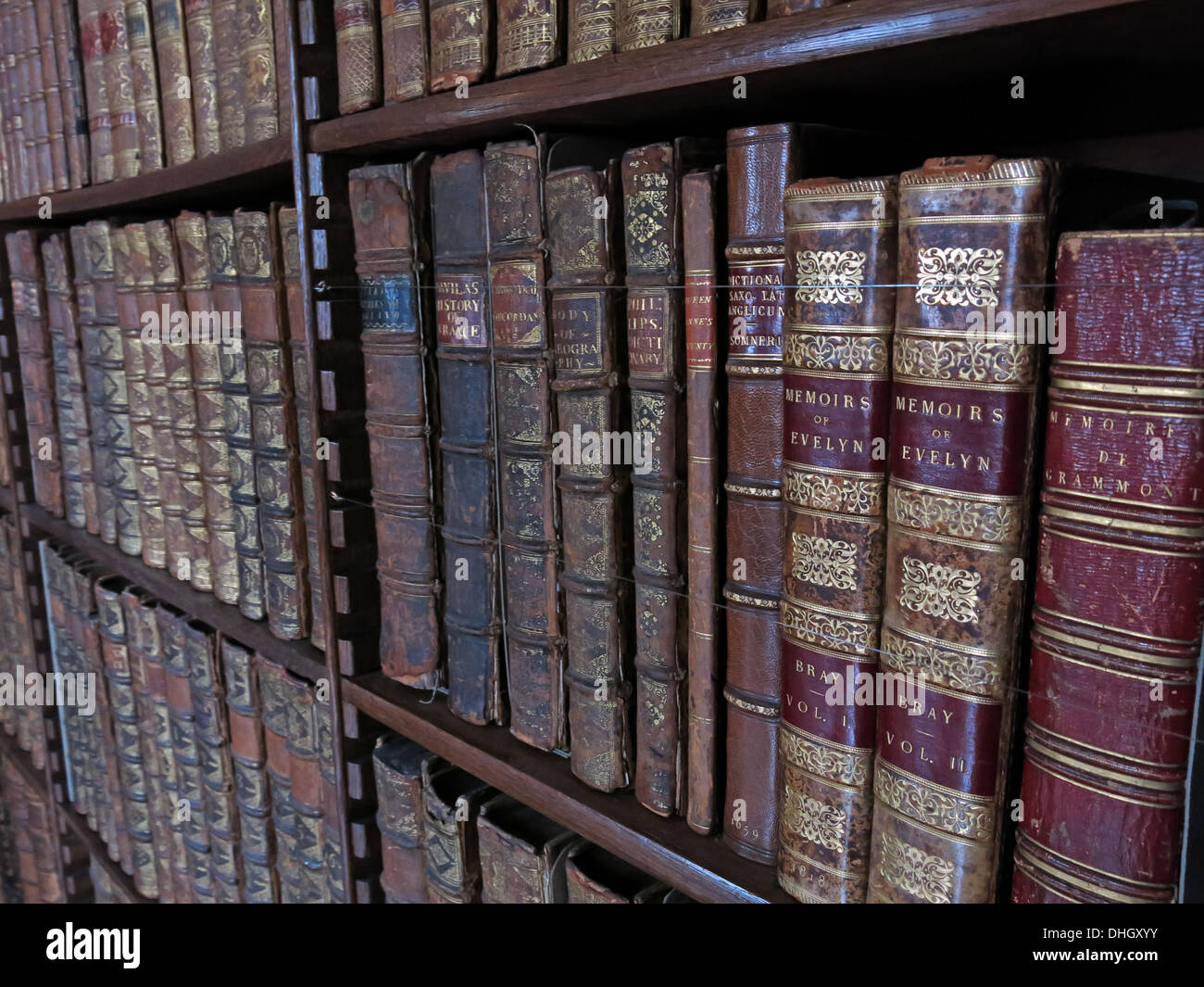 Library at the hall Dunham Massey house NT Near Altrincham Cheshire England UK WA14 4SJ - Stock Image