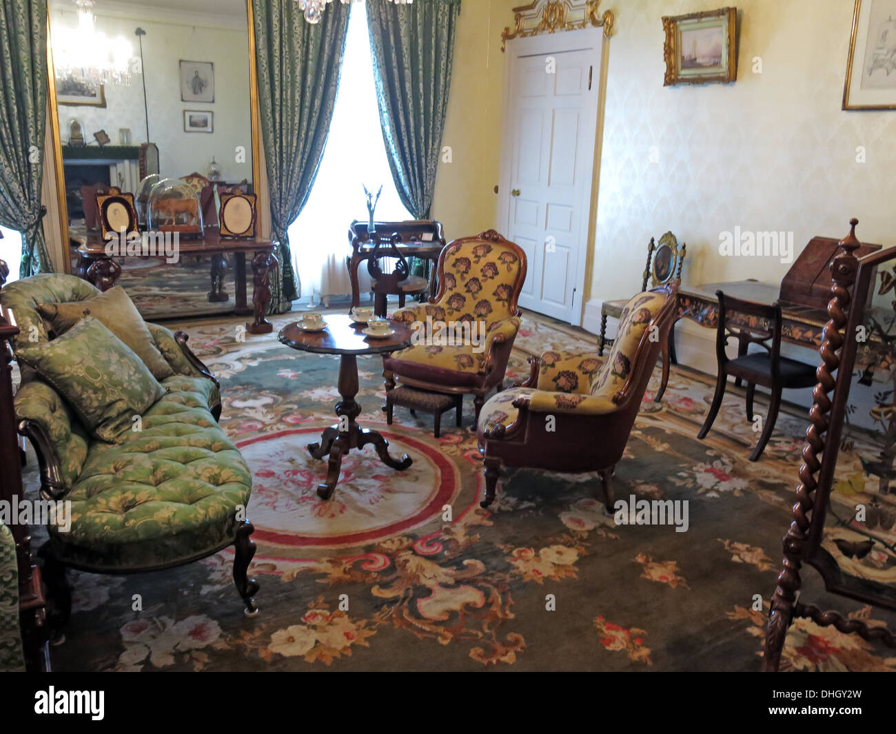 Bedroom, Dunham Massey, in the evening. NT near Altrincham, Cheshire, England, UK - Stock Image