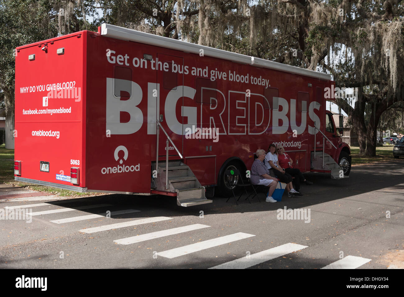 Big Red Bus on a blood drive in Central Florida USA - Stock Image