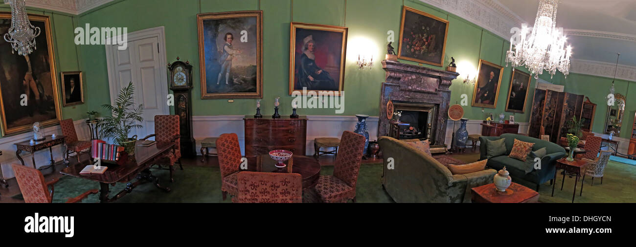 Panorama of the Green Room, Dunham Massey, NT property, Altrincham, Cheshire, England UK - Stock Image