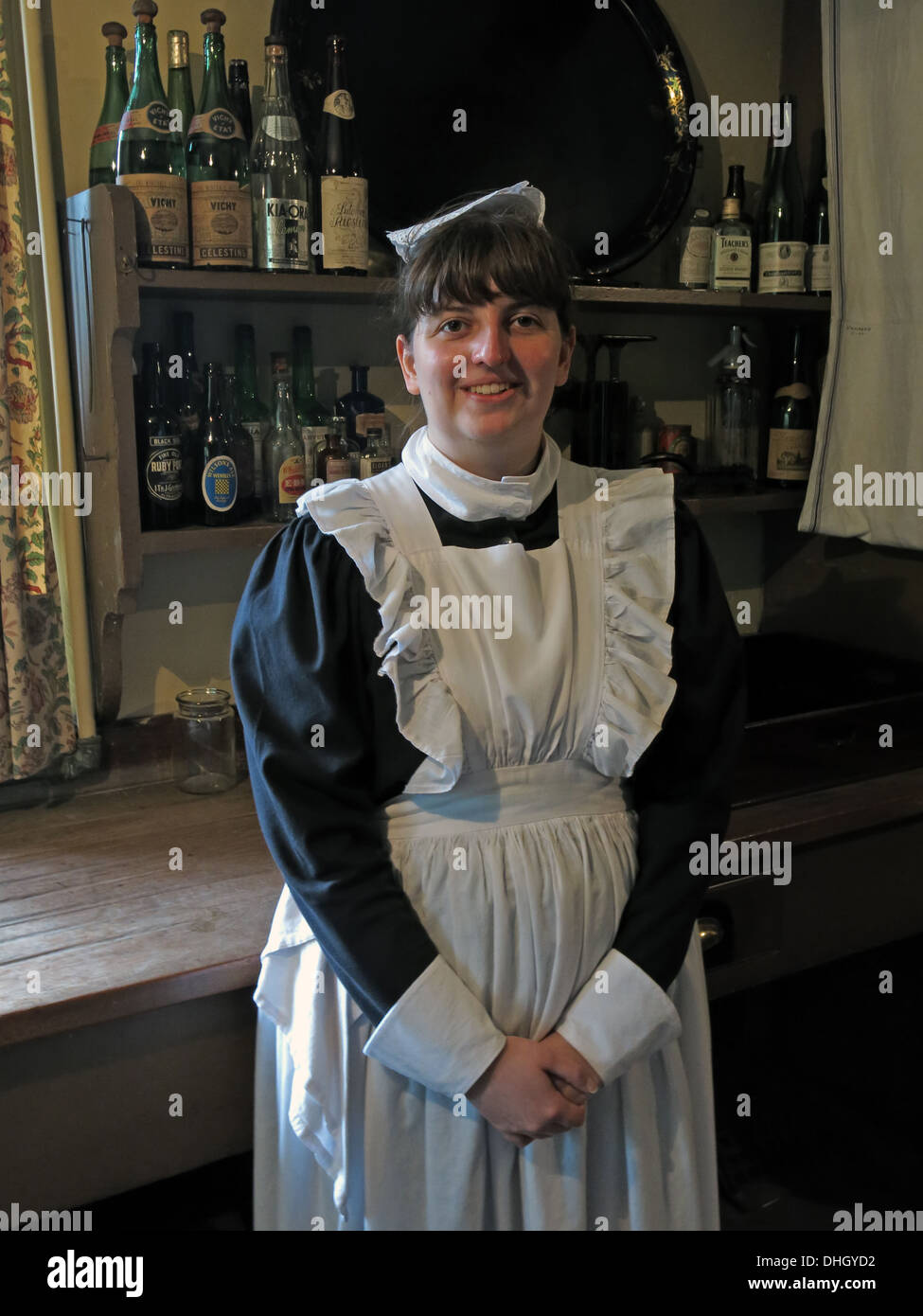 Stately Home Kitchen Maid Servant Dunham Massey  NT Cheshire England UK - Stock Image