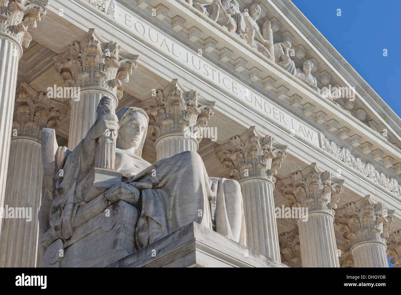 Contemplation of Justice statue at US Supreme Court building - Washington, DC USA - Stock Image