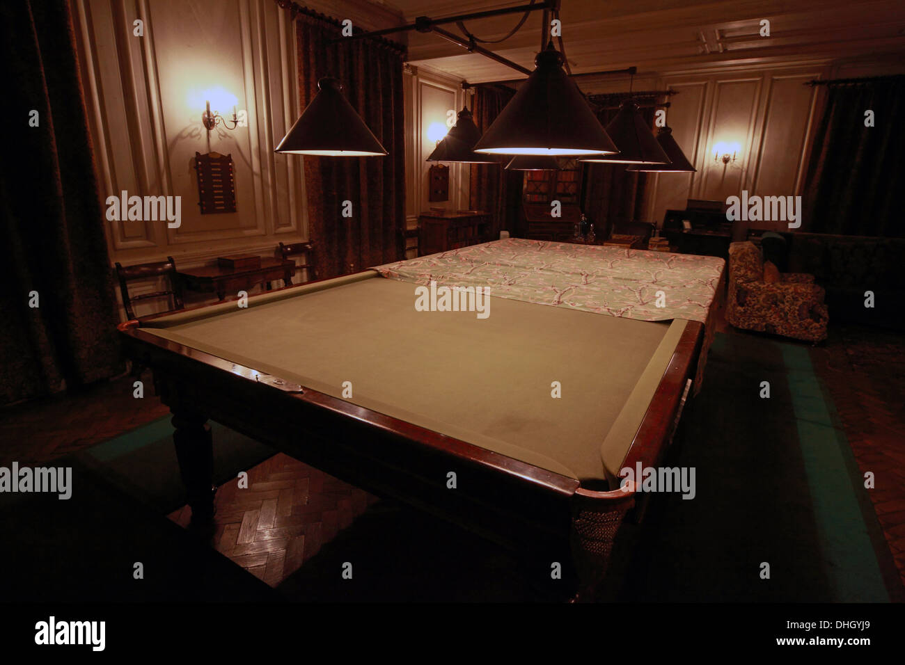 Snooker table in the mens games room at Dunham Massey NT near Altrincham Cheshire, England, UK - Stock Image