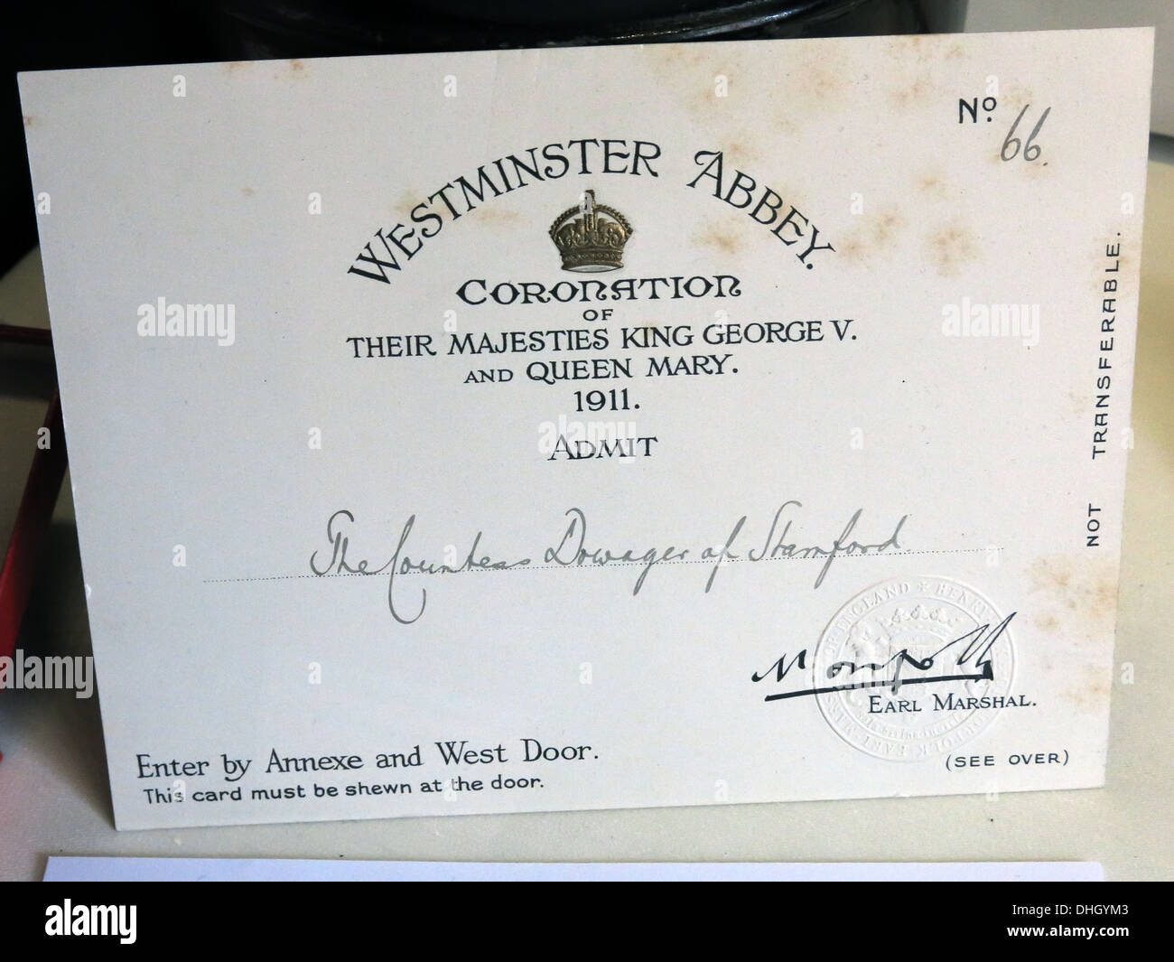 Ticket for 1911 coronation king George V Queen Mary admit countess dowager of Stamford from Dunham Massey NT Altrincham Cheshire - Stock Image