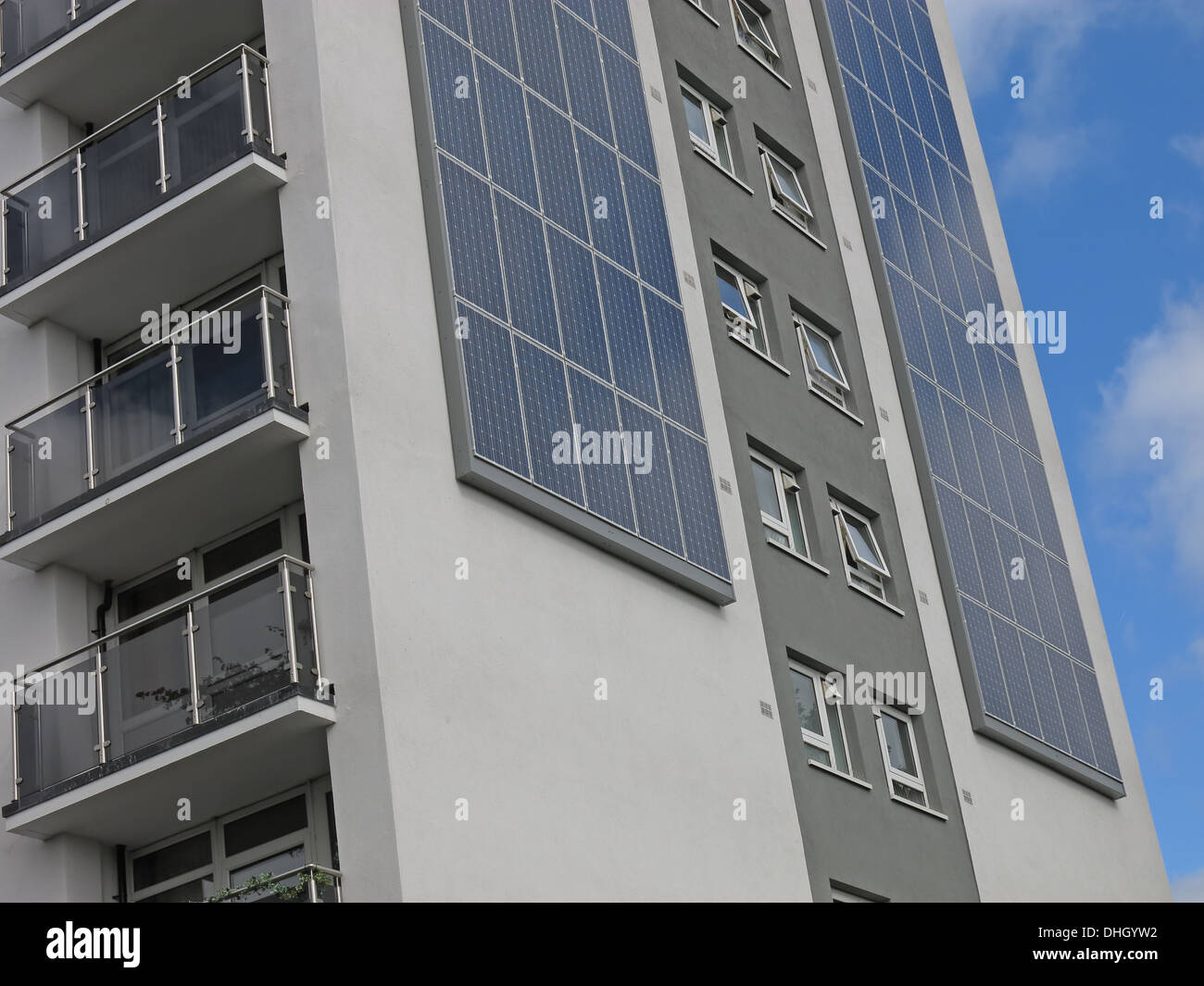 Austin House Walsall eco tower block with Solar PV , West Midlands , England , UK WS4 2AF Stock Photo
