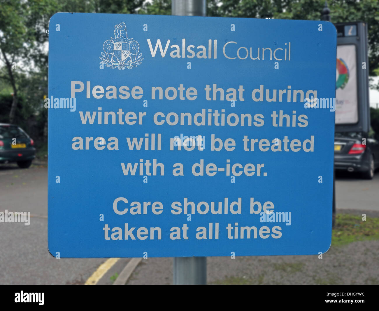 Walsall Council sign warning about no gritting de-icing , West Midlands, England UK - Stock Image