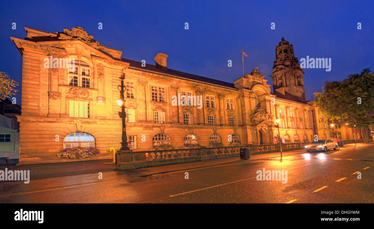 Walsall Town Hall municipal building at dusk / night , West Midlands , England , UK WS1 1TW Stock Photo