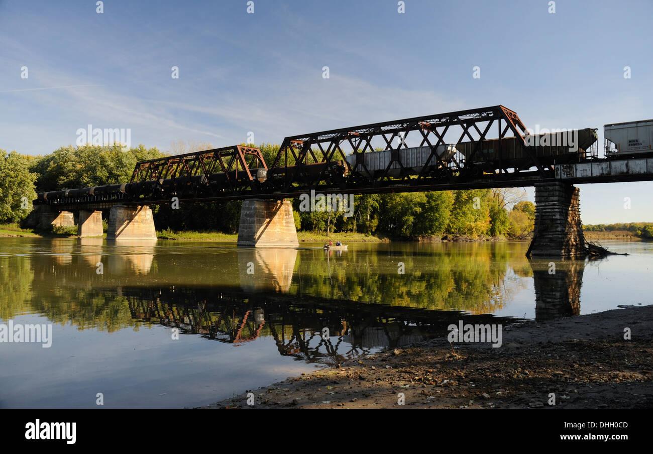 Railroad Bridge over the Wabash River, West Lafayette, Indiana - Stock Image