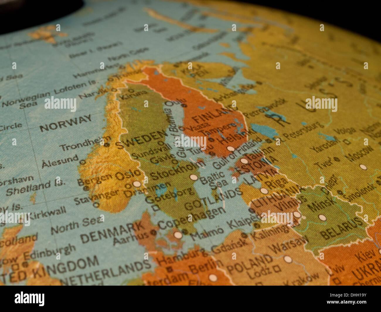 a view of scandinavia and northern europe on a beautiful illuminated globe