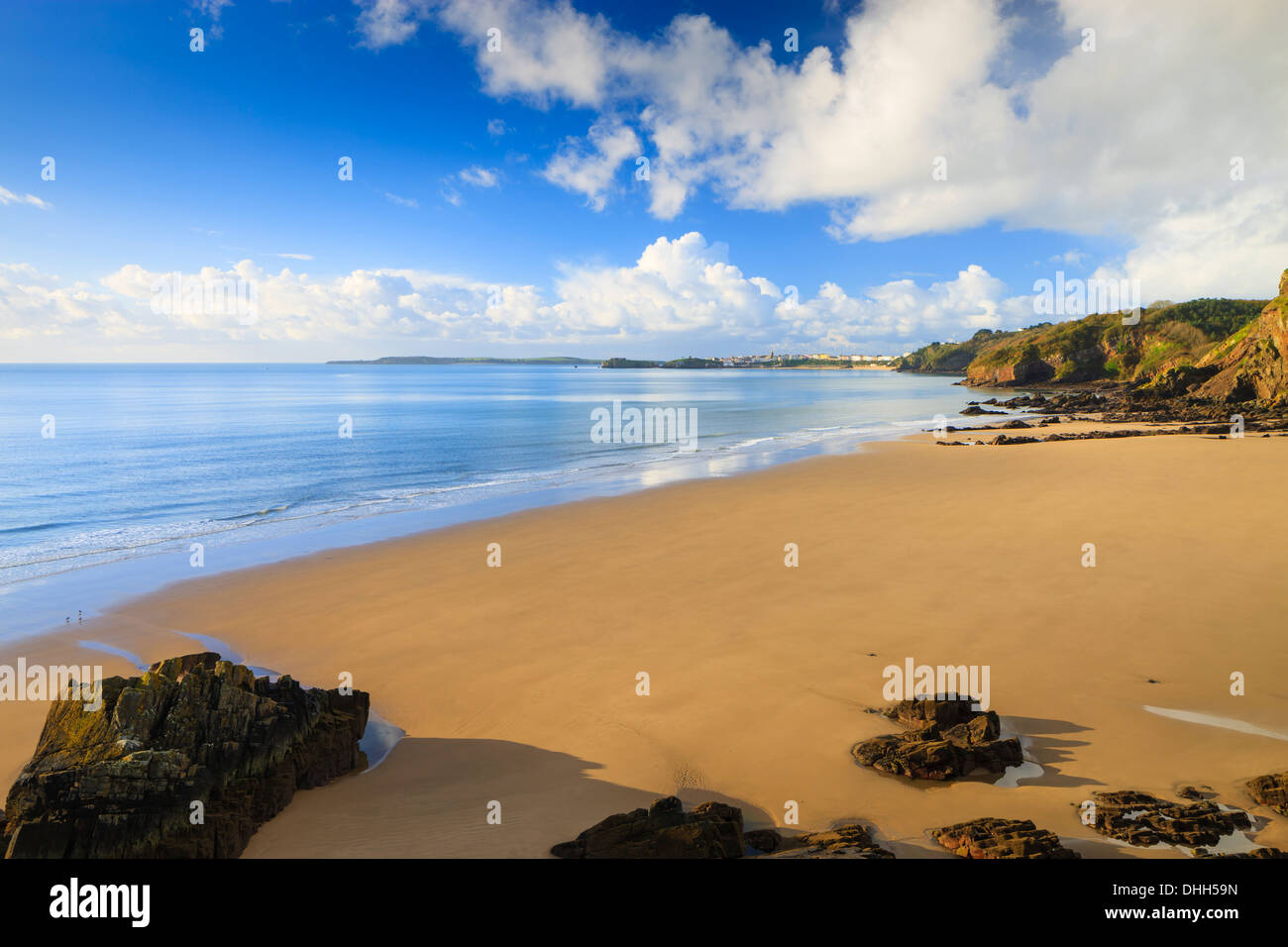 Monkstone Beach Tenby Pembrokeshire Wales (with Tenby in b/grd) - Stock Image