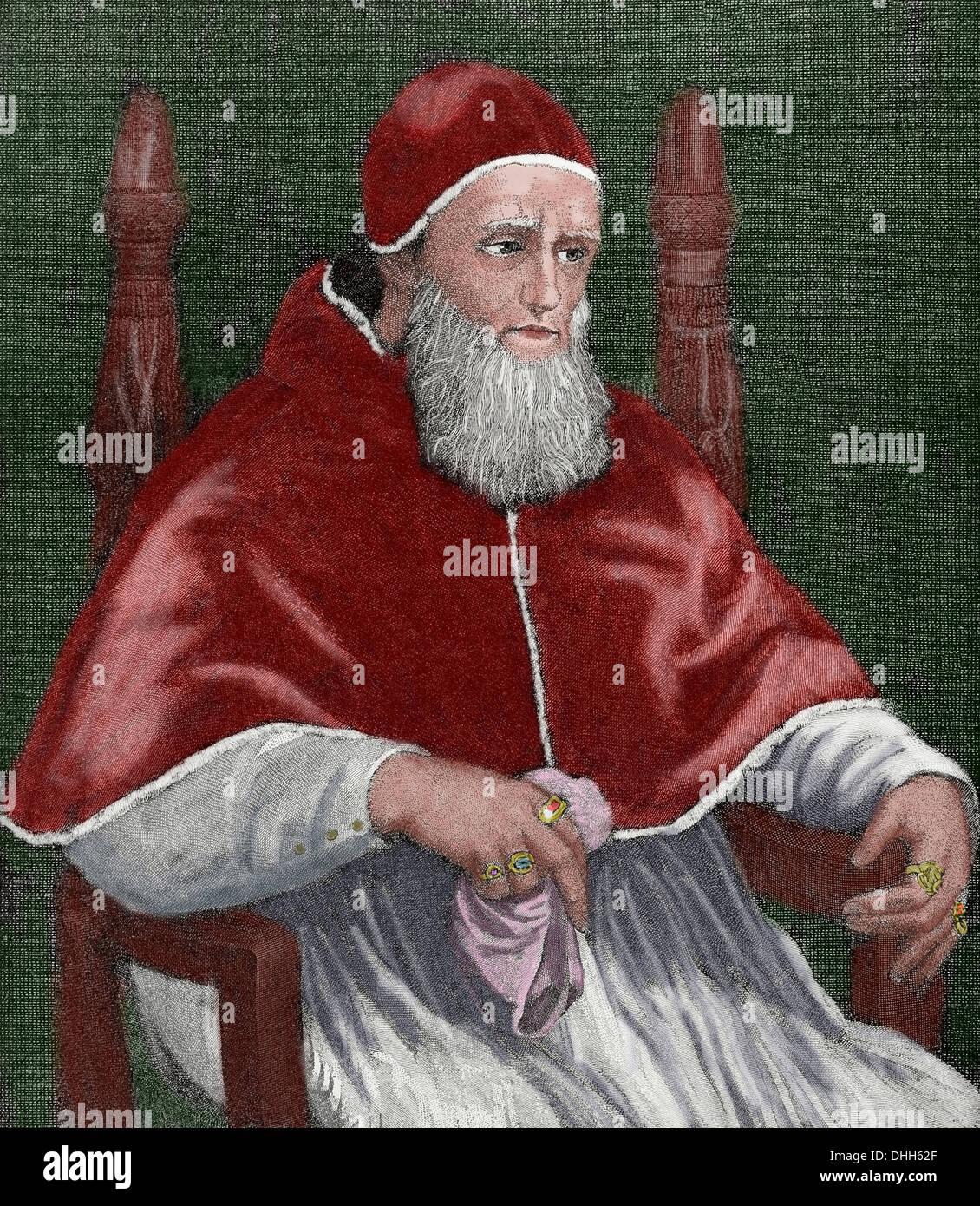 Julius II (1443–1513), nicknamed 'The Fearsome Pope' and 'The Warrior Pope', born Giuliano della Rovere. - Stock Image
