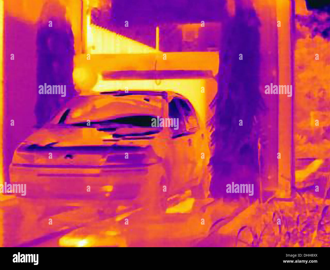 Thermal image of automobile in car wash - Stock Image