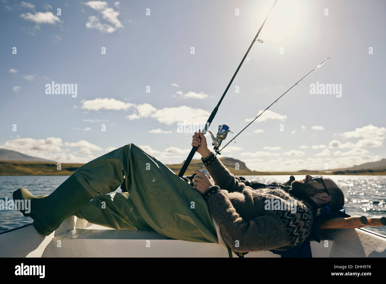 Men on fishing trip Stock Photo