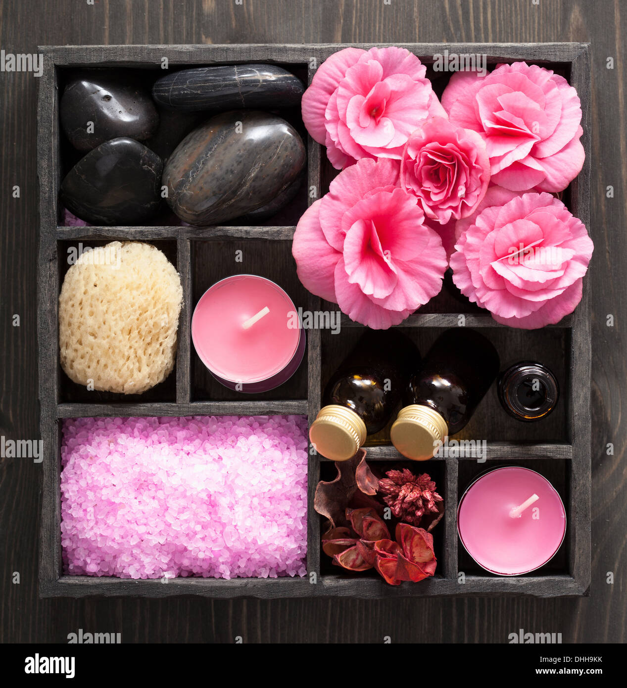 spa and aromatherapy set in black box - Stock Image