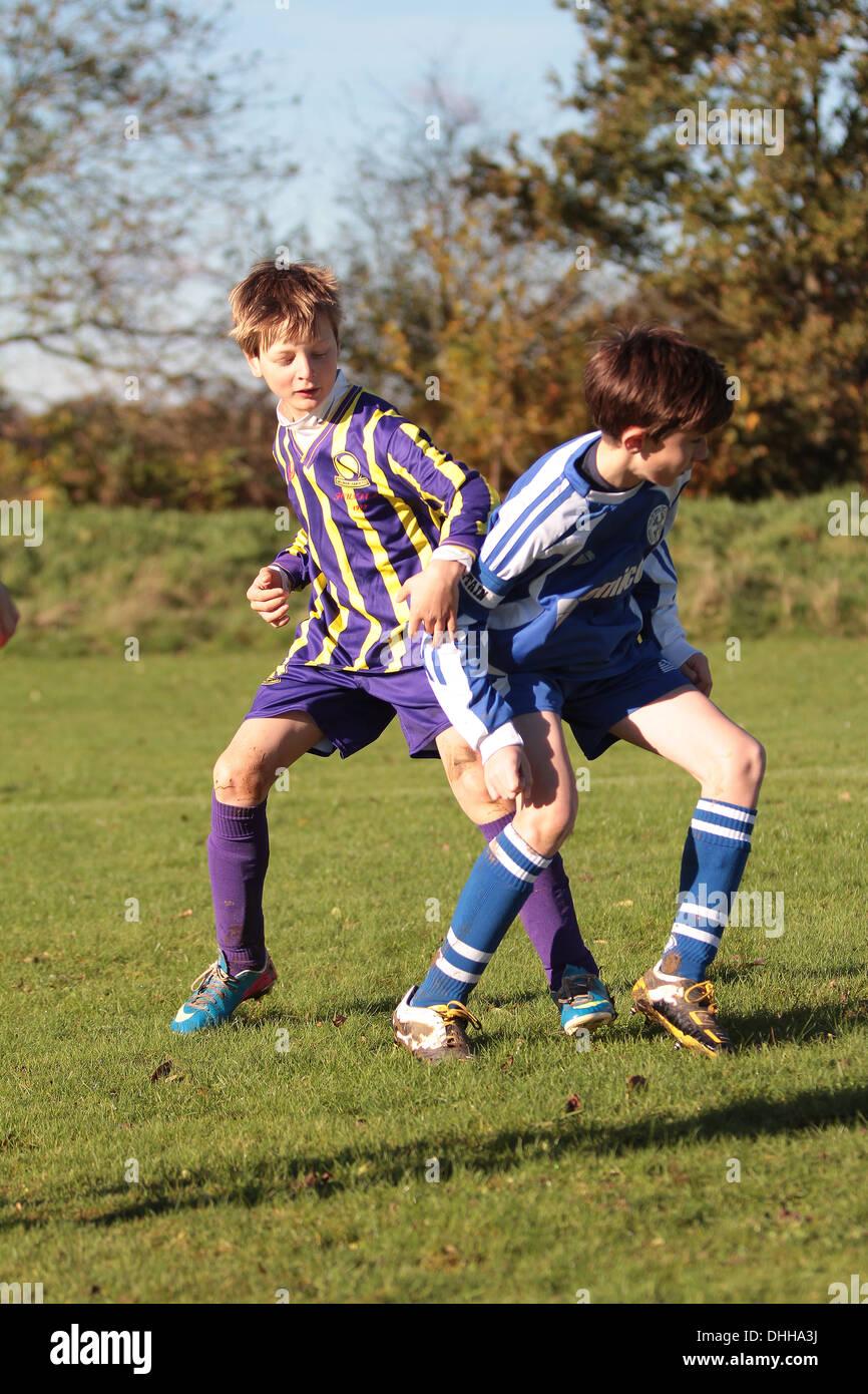 Under 12's Sunday League football match - Stock Image