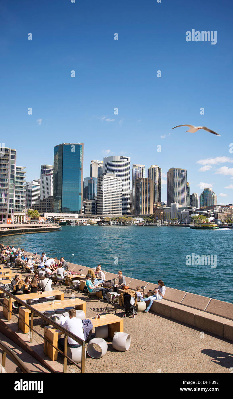 circular quay and skyline in central sydney australia - Stock Image