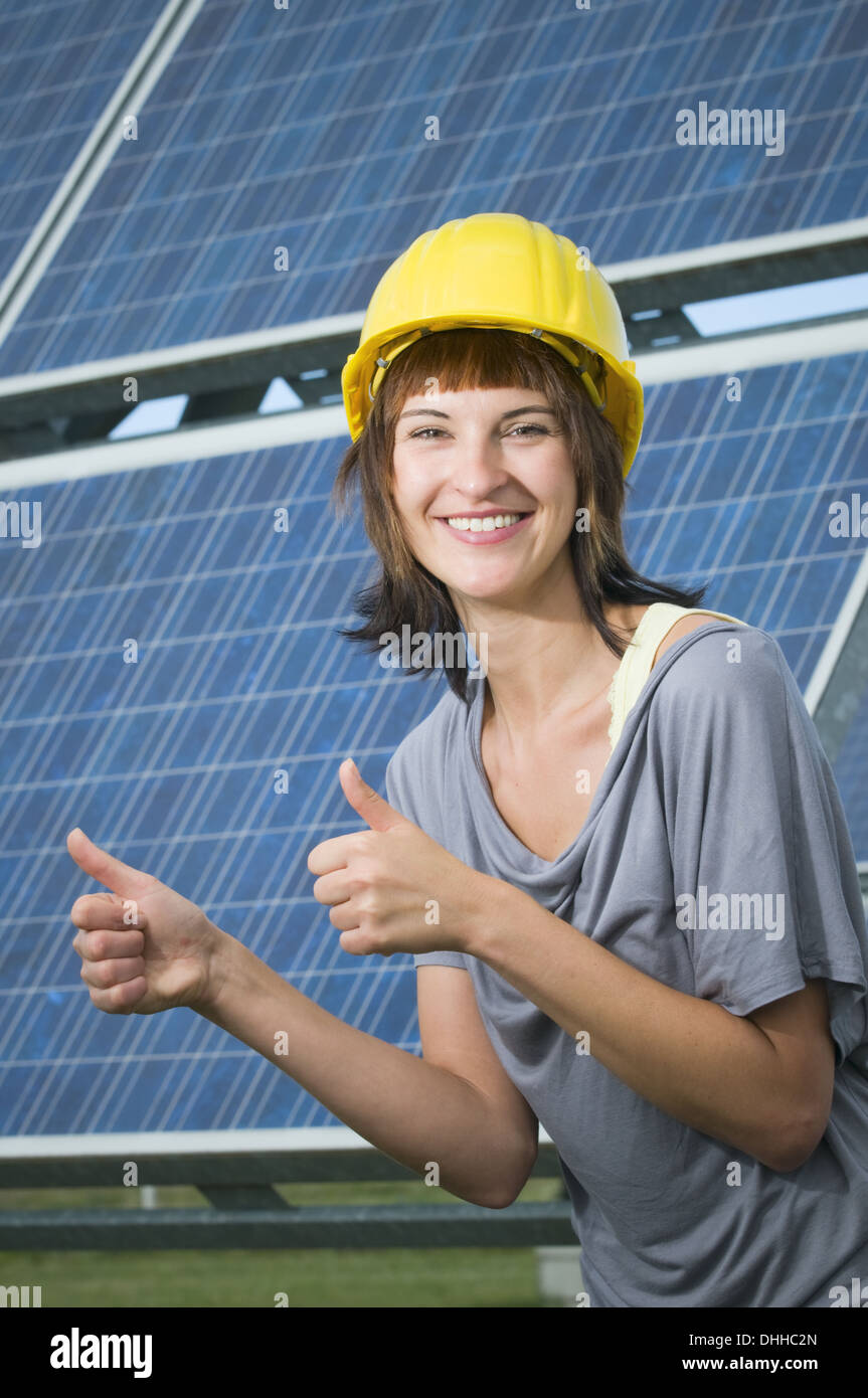 smiling for photovoltaics - Stock Image