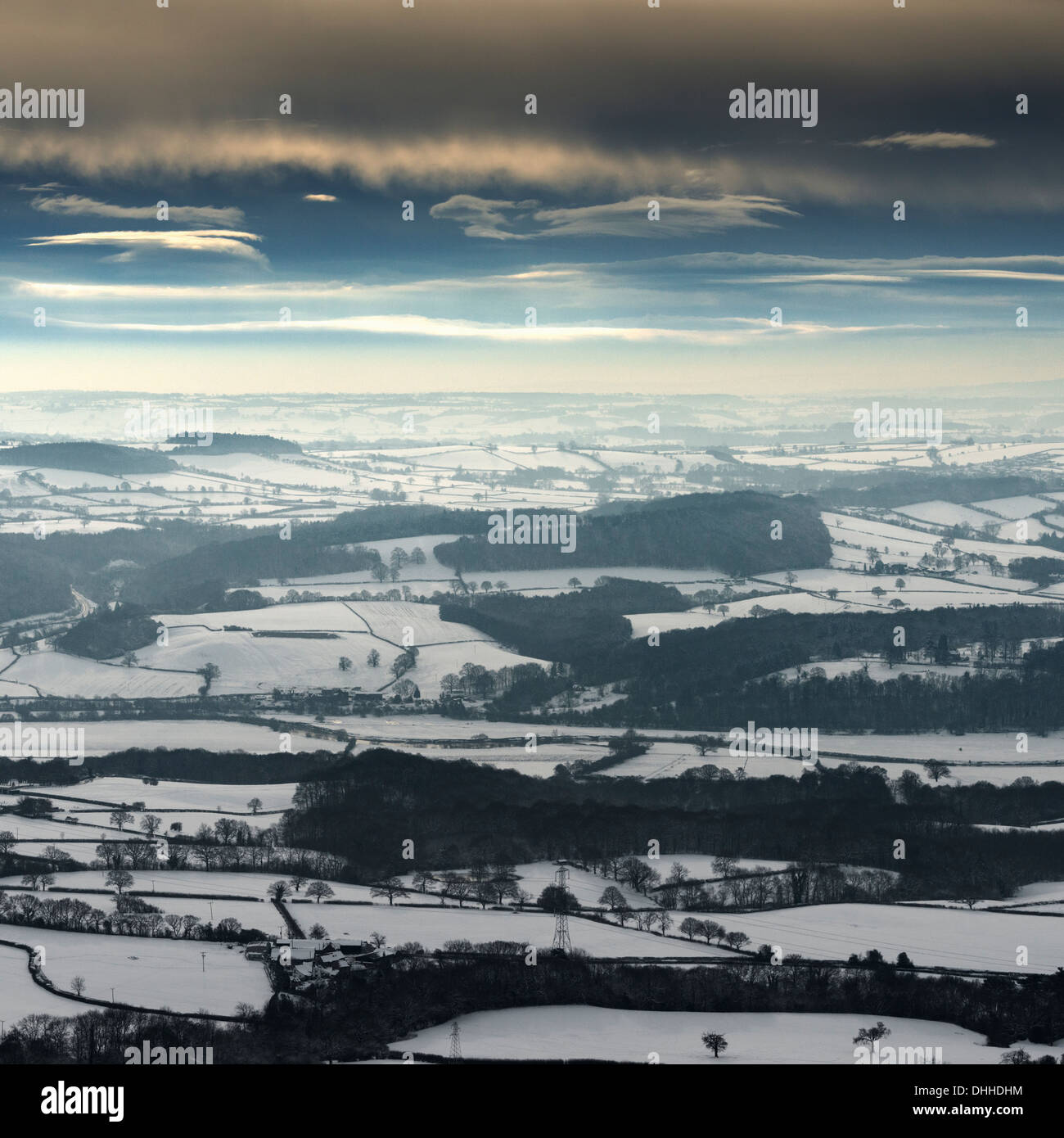 Snow covered landscape, The Wrekin, Shropshire, UK - Stock Image