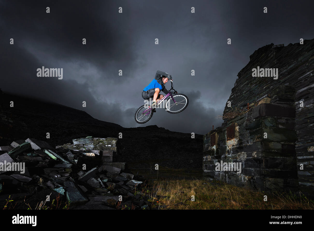 Freestyle cycling, Llanberis, North Wales, UK - Stock Image