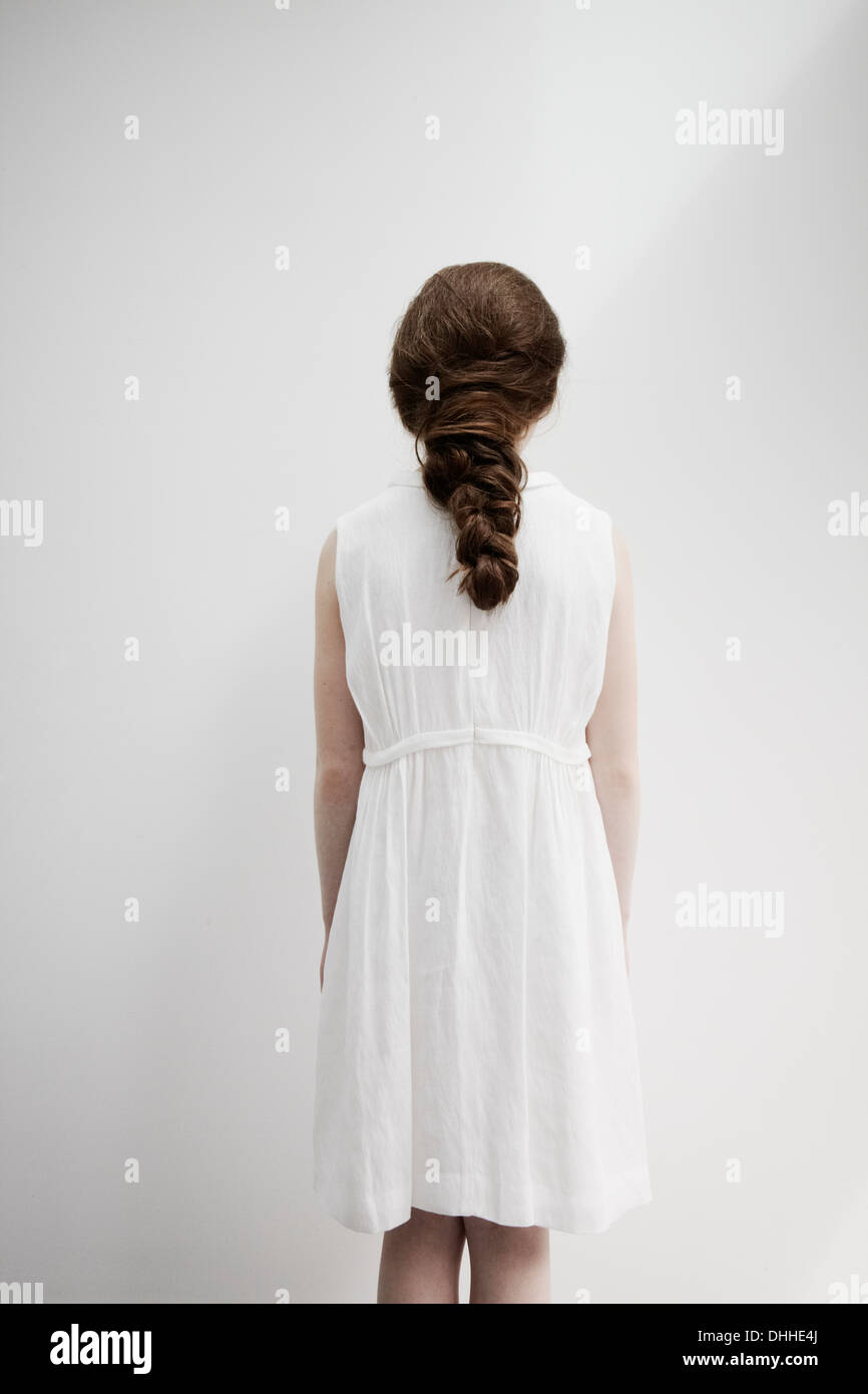 Girl with back facing camera - Stock Image