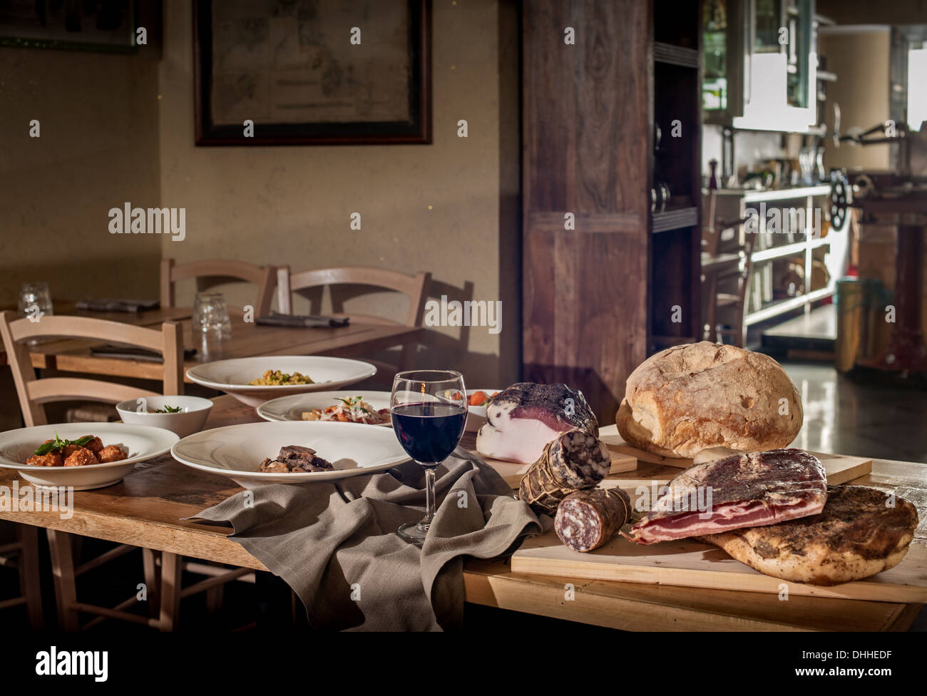 Rustic Display Of Traditional Italian Food In Restaurant Stock Photo Alamy