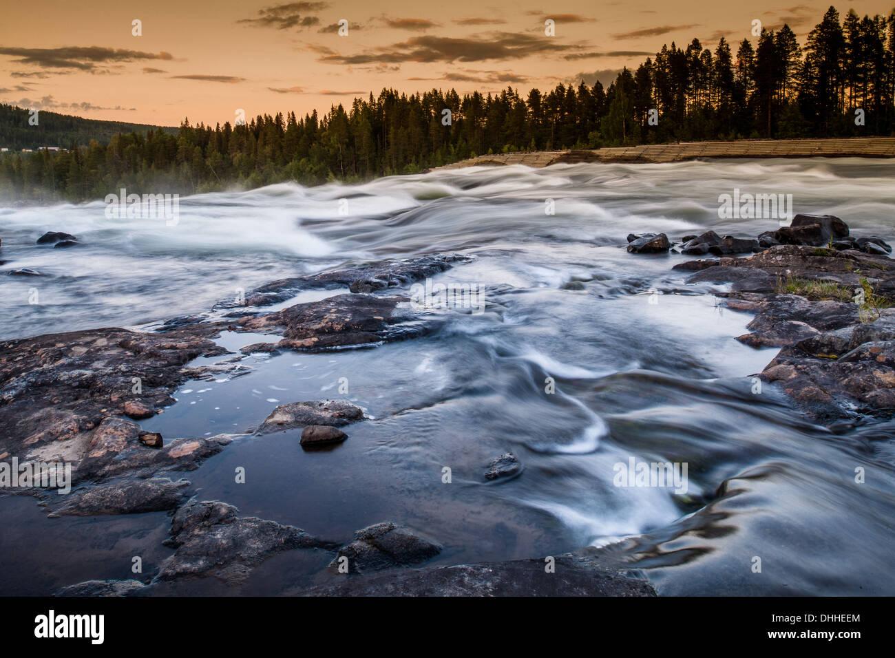 River flowing over rocks, Storforsen, Lapland, Sweden - Stock Image