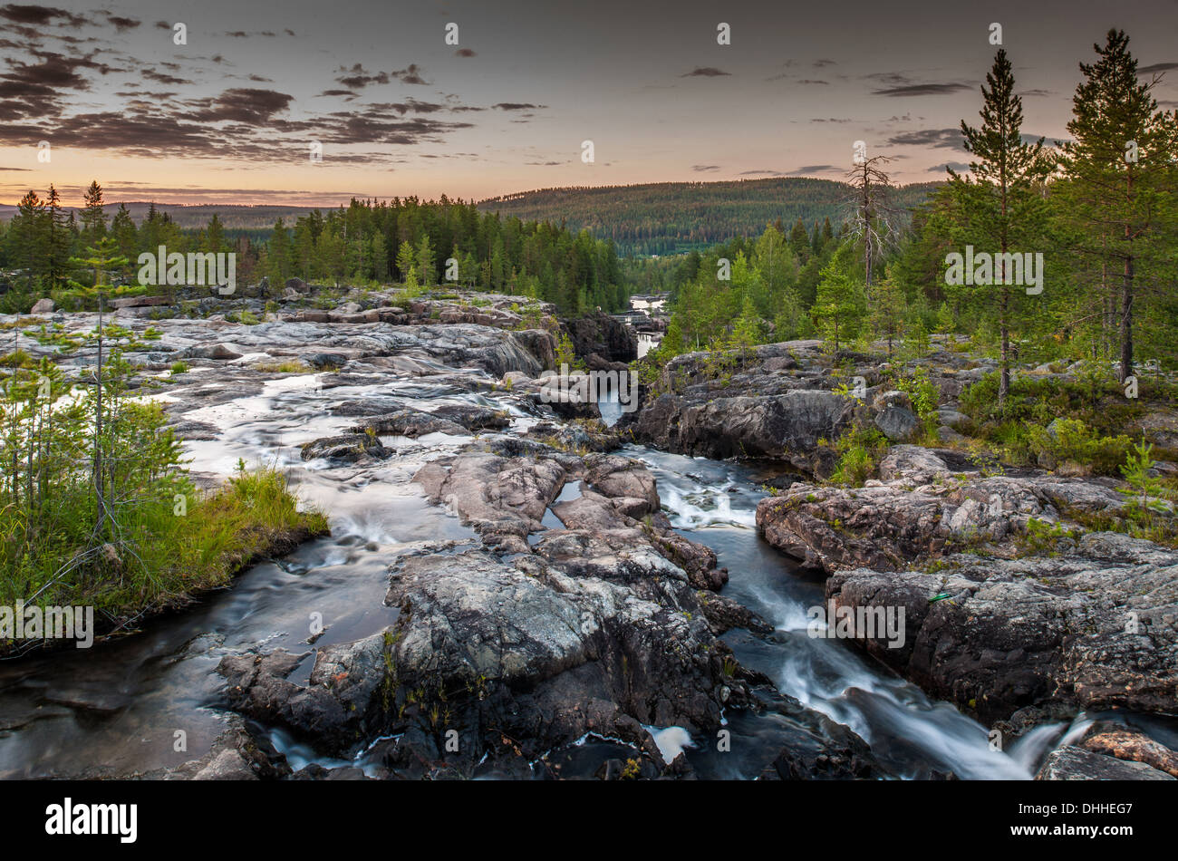 River flowing through gorge, Storforsen, Lapland, Sweden - Stock Image