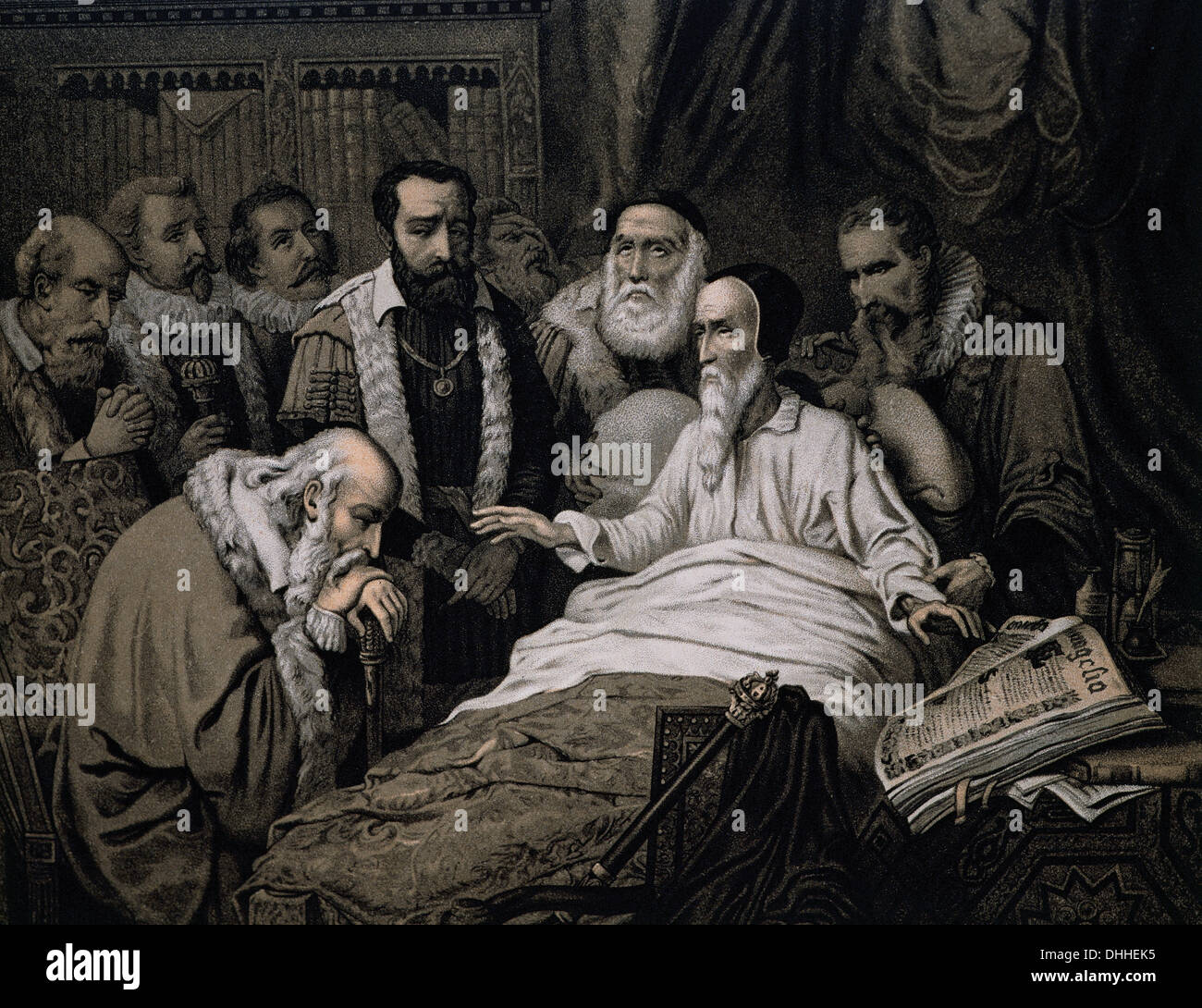 John Calvin (1509-1564). French theologian and reformer. Last moments of Calvin. Engraving, 1882. - Stock Image