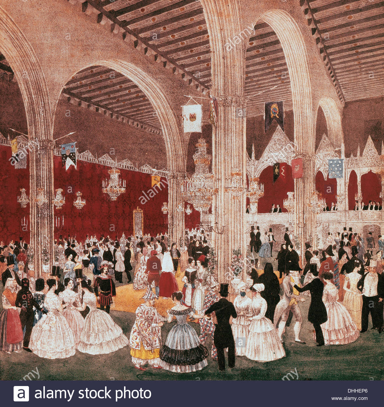 Spain. Catalonia. Dancing in the building of the Lonja of Barcelona, 1826. Lithography by Onofre Alsamora (1810 - Stock Image
