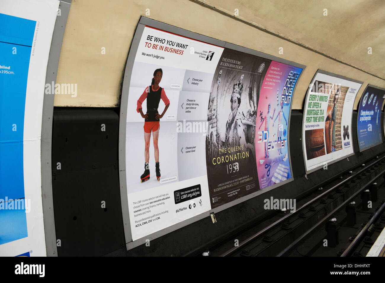 Poster sites on the London underground - Stock Image