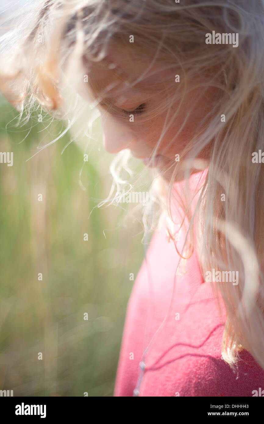 Close up portrait of woman with blonde hair, Wales, UK - Stock Image