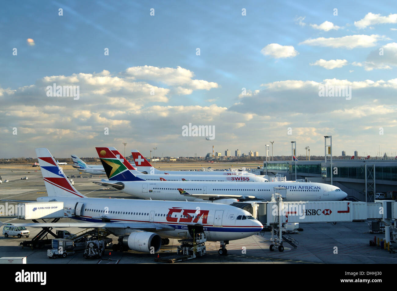 Airplanes at Terminal 4, John F Kennedy Airport, New York City, New York, United States - Stock Image