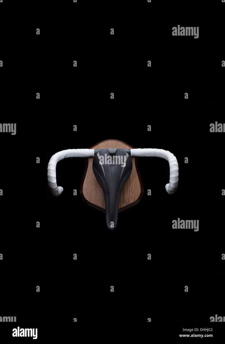 Still life of racing bike trophy with handlebars and saddle - Stock Image
