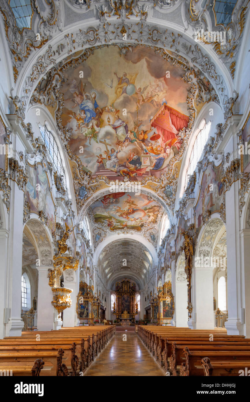 Former Collegiate Church of St. John the Baptist, Steingaden, Pfaffenwinkel region, Upper Bavaria, Bavaria, Germany - Stock Image