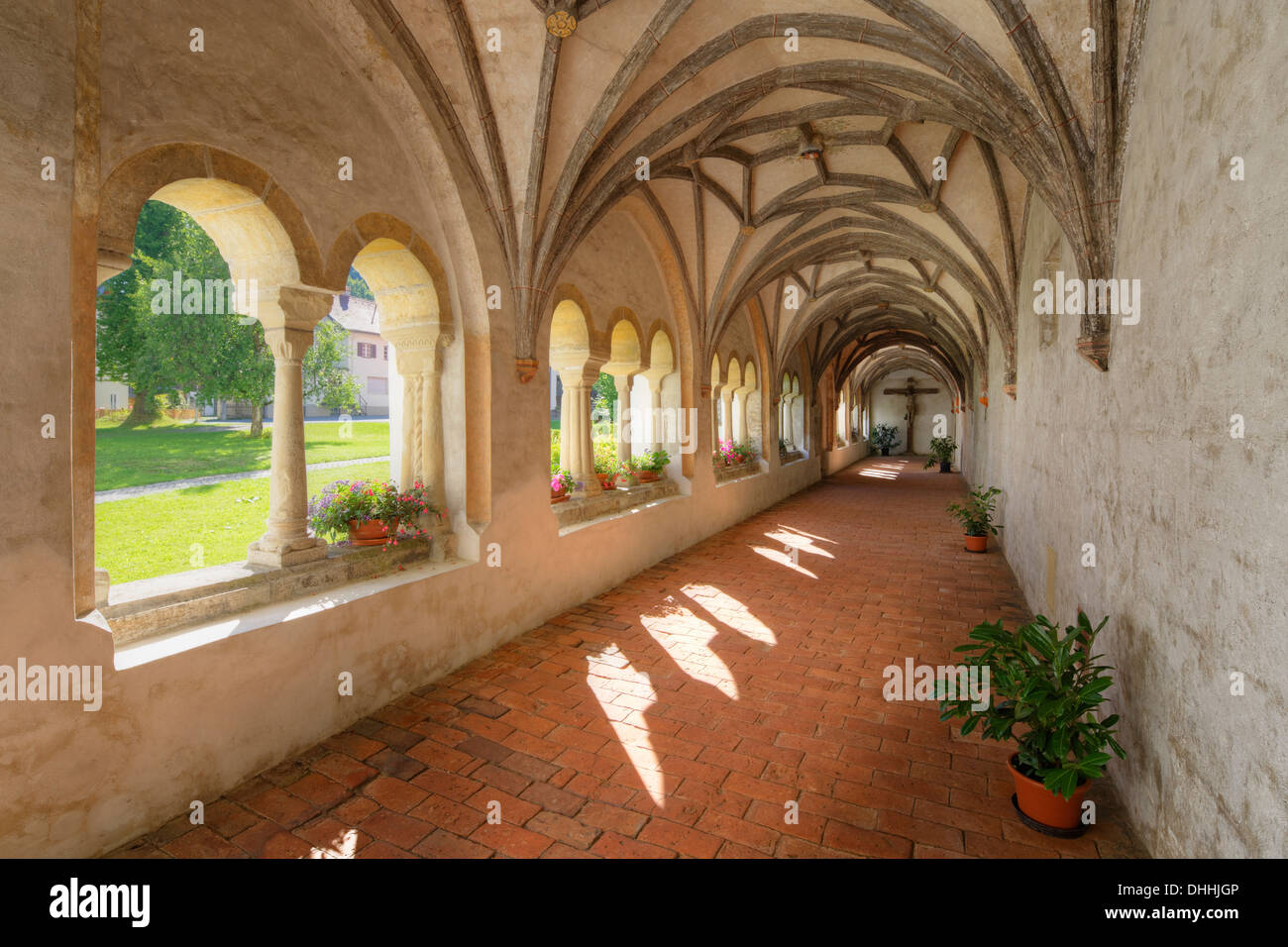 Cloister, former Collegiate Church of St. John the Baptist, Steingaden, Pfaffenwinkel region, Upper Bavaria, Bavaria, Germany - Stock Image