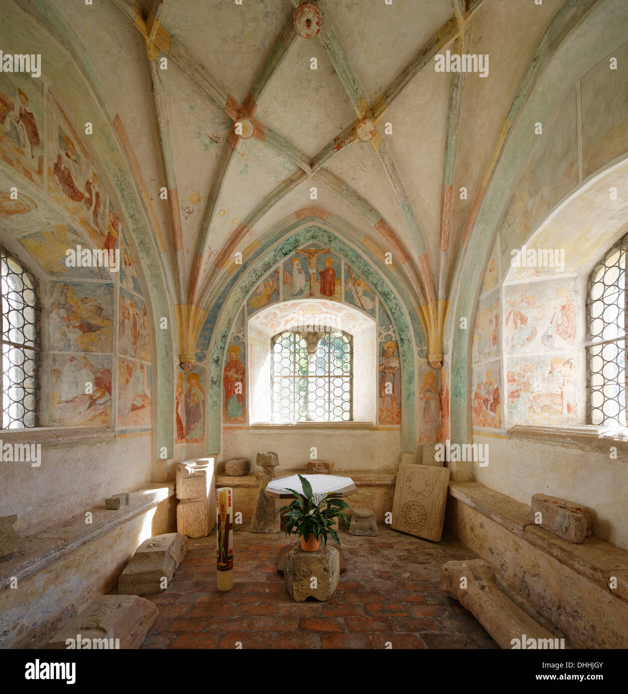 Fountain Chapel in the cloister, former Collegiate Church of St. John the Baptist, Steingaden, Pfaffenwinkel region - Stock Image