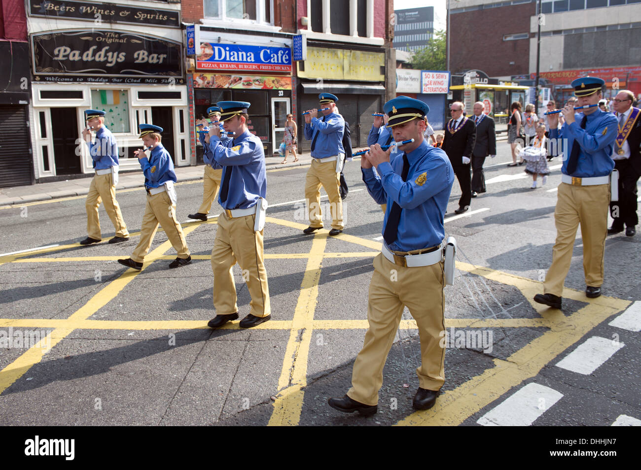 Loyalist Orange Lodge march, London Road, Liverpool, July 2013 - Stock Image