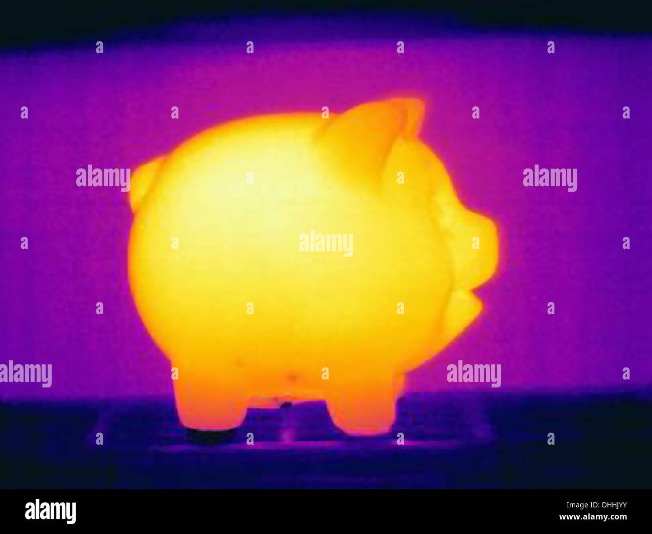 Thermal photograph of piggy bank - Stock Image