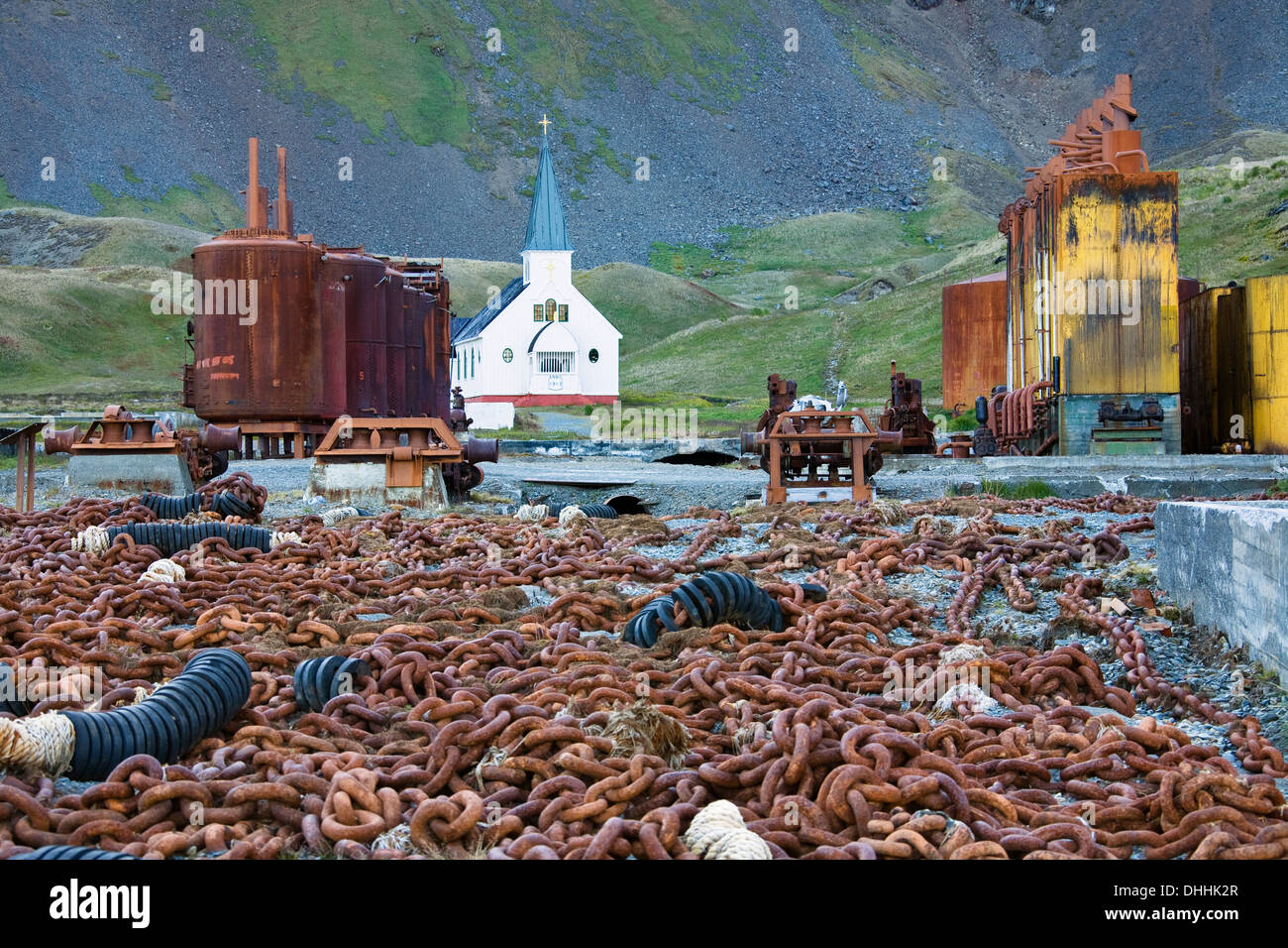 Former whaler station Grytviken with church, South Georgia, South Sandwich Islands, British overseas territory, Antarctic - Stock Image