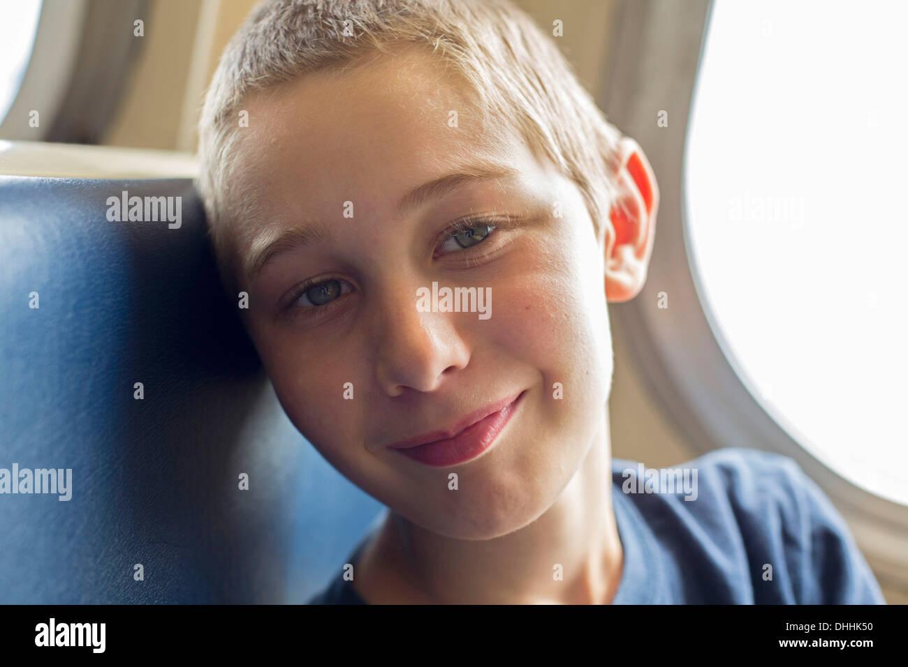 Close up portrait of boy - Stock Image