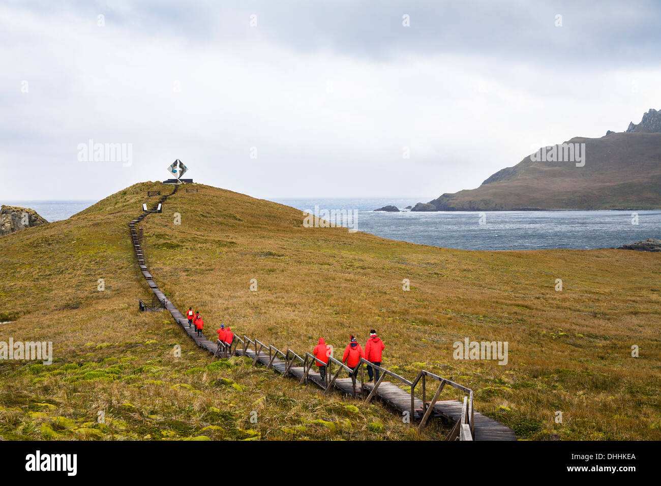 Memorial for castaways at Cape Horn, Cape Horn National Park, Cape Horn Island, Tierra del Fuego, Patagonia, Chile, Stock Photo