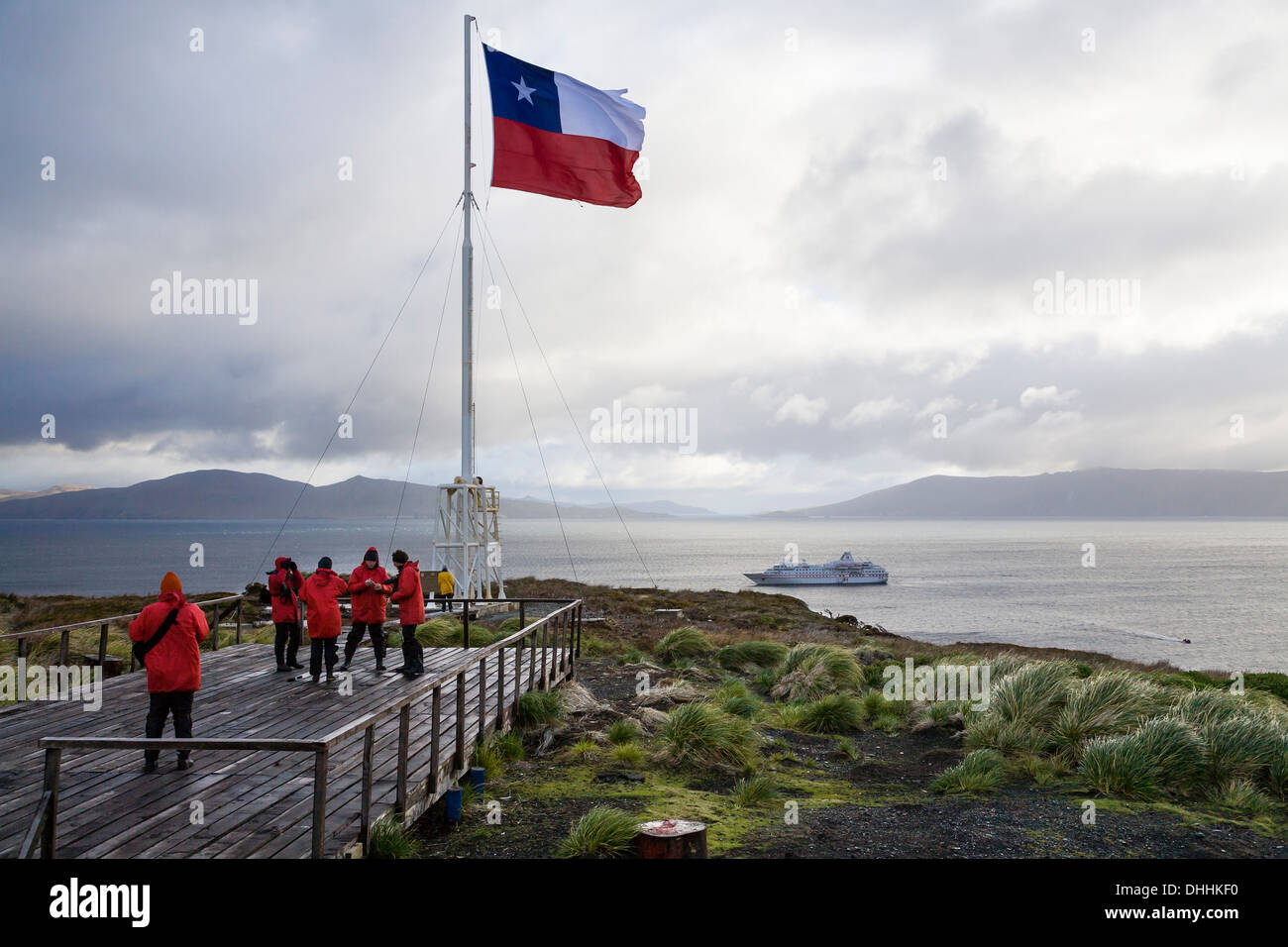 Chilean flag at Cape Horn, Cape Horn National Park, Cape Horn Island, Terra del Fuego, Patagonia, Chile, South America - Stock Image